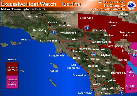 A excessive heat watch will be in place Tuesday through Thursday, the National Weather Service said on Saturday.