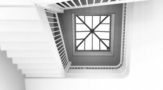 A view up at the proposed skylight over the Hotel Harrington's main staircase.