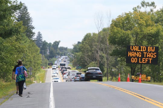 Traffic moving slowly along Route 17B outside of the Bethel Woods Center for the Arts on August 17, 2019.