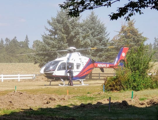 A motorcyclist was flown to an area hospital after suffering serious injuries in a crash with a Mazda in Marion County.