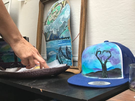 Amber Brady's art on a hat. May 17, 2019.