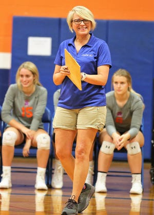 San Angelo Central High School head volleyball coach Connie Bozarth guided the Lady Cats to a 3-0 showing in pool play on Day 1 of the Nita Vannoy Memorial Tournament at Central's Trevino gym on Friday, Aug. 16, 2019.