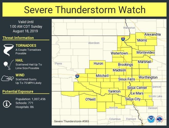 Severe thunderstorm warning for eastern South Dakota until 1 a.m.