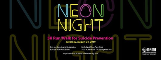 The Neon Night 5K Run/Walk for Suicide Prevention is Saturday, Aug. 24, 2019 at the Rutledge-Wilson Farm Park in Springfield, Mo.
