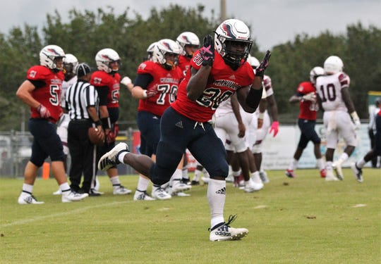Wakulla running back Jordan Bolden scored two touchdowns as Madison County traveled to Wakulla and won 27-26 during a preseason game on Aug. 16, 2019.