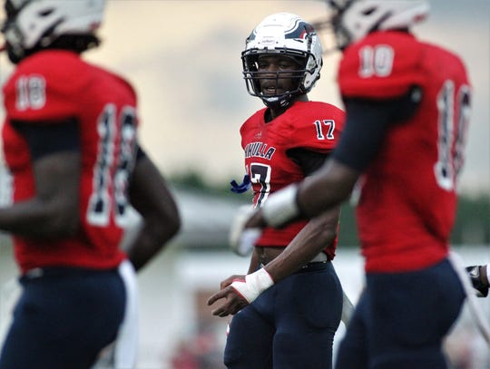 Wakulla senior Keyshawn Greene, a four-star linebacker commit to FSU, walks off the field as Madison County traveled to Wakulla and won 27-26 during a preseason game on Aug. 16, 2019.