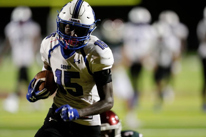 Godby receiver Keuntae Stewart races for a touchdown as Chiles hosted Godby for a preseason game at Chiles High School Friday, August 16, 2019.