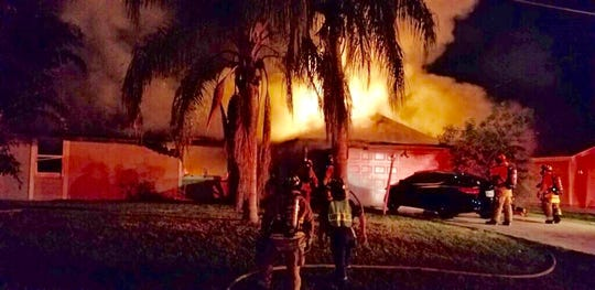 A home on Crawfish Drive in Port St. Lucie was heavily damaged by a fire on August 17, 2019.