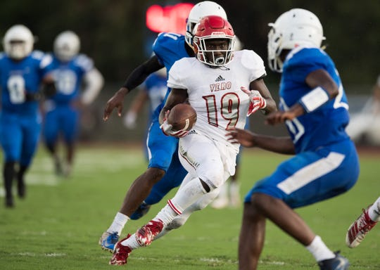 Vero Beach's Wendel Bethel runs the ball in for a touchdown on a reception for the first score of the game against Sebastian River in the first quarter of the high school football Kickoff Classic game Friday, Aug. 16, 2019, at Sebastian River High School.