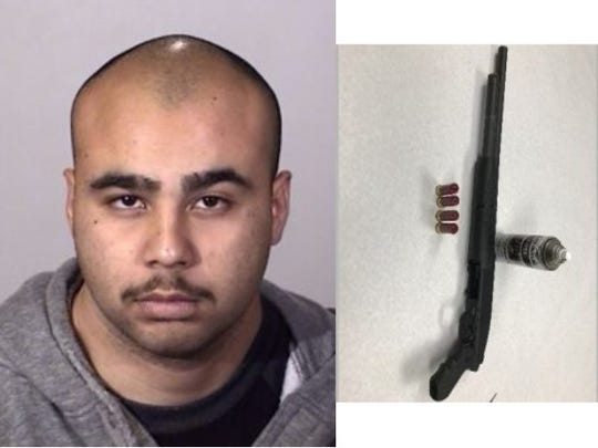 Luiz Orozco, 25, and a shotgun seized by Oxnard police.