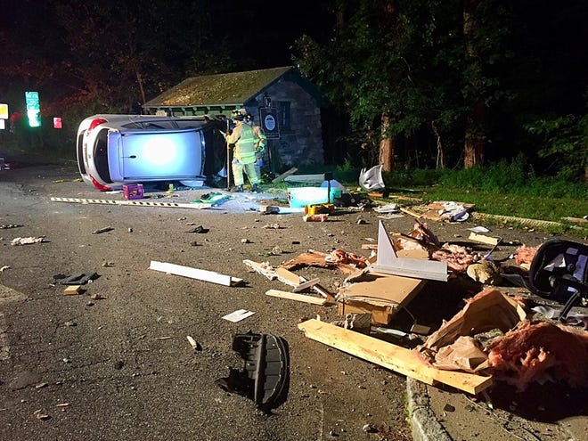 Yorktown firefighters and police responded early Saturday morning to a report of an overturned vehicle near the Taconic State Parkway and the FDR State Park. A booth at the park's entrance was damaged by the car, according to the fire department.