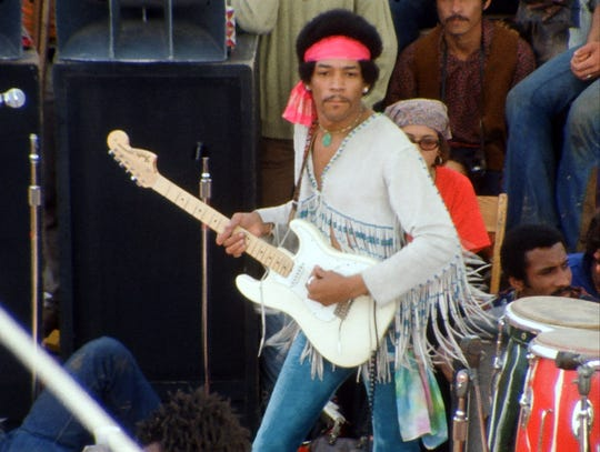 "Jimi Hendrix in a scene from the motion picture documentary ""Woodstock: 3 Days of Peace and Music,"" the four-hour director's cut of the 1970 Oscar-winning documentary."
