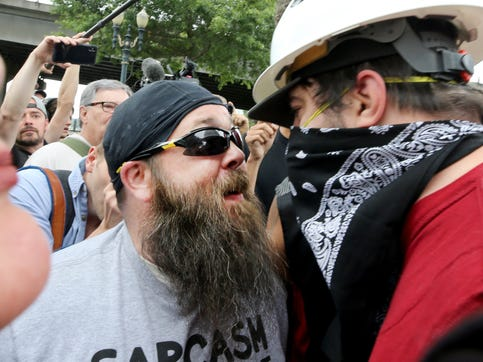 Alt-right groups hold the End Domestic Terrorism rally at Tom McCall Waterfront Park on August 17, 2019 in Portland, Oregon