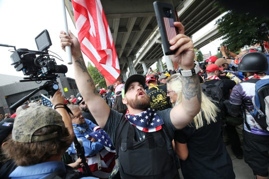 Alt-right groups hold the End Domestic Terrorism rally on August 17, 2019 in Portland, Oregon.
