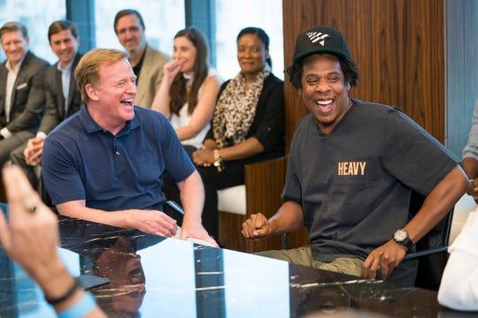 NFL Commissioner Roger Goodell and Jay-Z on Aug. 14, 2019.