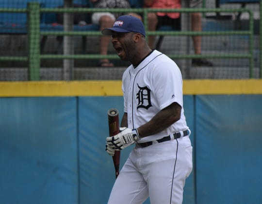 Former Detroit Tigers and current broadcaster Craig Monroe reacts to his round of swings during the Dingers for DIPG Home Run Derby at C.O. Brown Stadium in Battle Creek on Saturday.