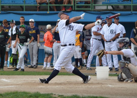 Former Detroit Tiger Brandon Inge watches the ball fly during the Dingers for DIPG event at C.O. Brown Stadium in Battle Creek on Saturday.