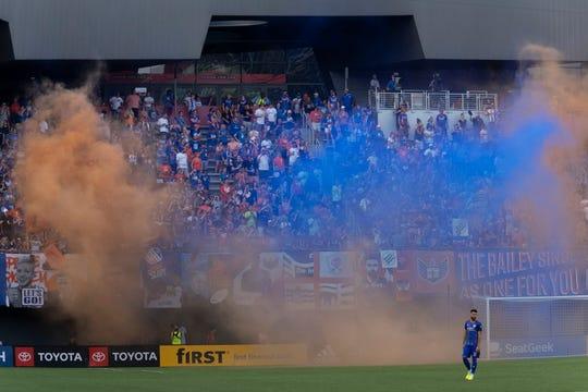 The Bailey uses smoke grenades prior to FC Cincinnati's MLS game against NYCFC at Nippert Stadium in Cincinnati, Ohio on Saturday, August 17, 2019.