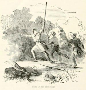 Illustration of Daniel Boone at Battle of Blue Licks in Indian History For Young Folks by Francis Samuel Drake.