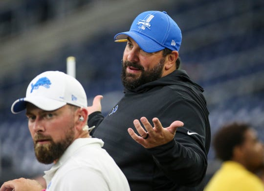 Detroit Lions coach Matt Patricia reacts from the sideline before a game against the Texans at NRG Stadium on Aug. 17, 2019, in Houston.