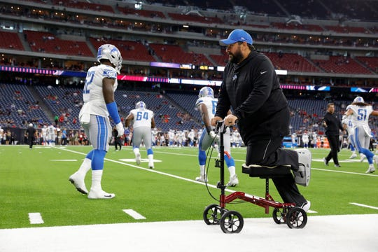 Detroit Lions head coach Matt Patricia watches players warm up before the preseason game against the Houston Texans at NRG Stadium on August 17, 2019 in Houston.