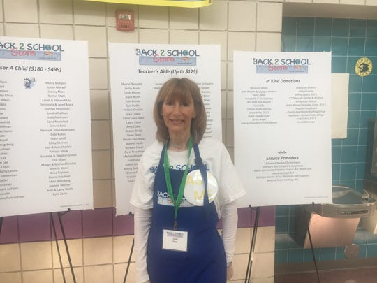 Sandi Matz, a former president of the National Council of Jewish Women, Michigan chapter, is a volunteer at the Back 2 School Store event at Munger Elementary-Middle School in Detroit on Aug. 18, 2019.