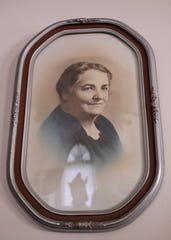A framed photograph of Rhoda Wise is displayed Aug. 9 in Canton, Ohio.