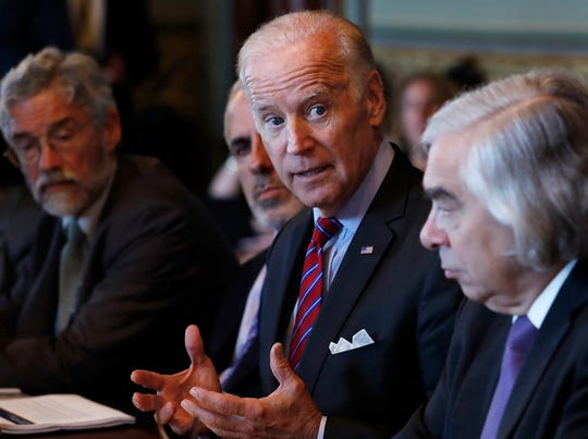 Vice President Joe Biden speaks during a meeting of the Cancer Moonshot Task Force in the Eisenhower Executive Office Building on the White House complex in Washington in October of 2016.