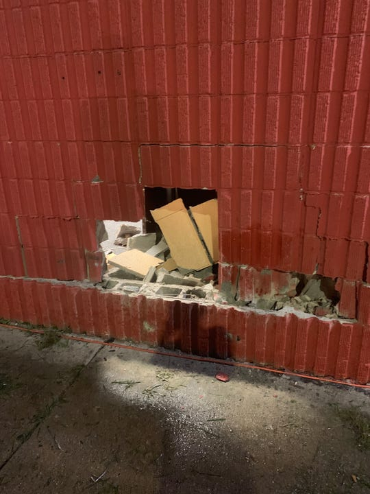 This is the exterior wall of the building that was damaged when a Dodge Viper crashed into it during the Woodward Dream Cruise in Pontiac on Saturday night.