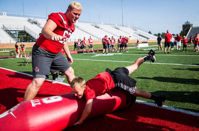 FILE -- Hundreds met athletes, played games and received free food during Ball State's annual Fan Jam at Scheumann Stadium on Aug. 17, 2019. The football field there, Ball State announced Thursday, will now be known as Gainbridge Field at Scheumann Stadium.