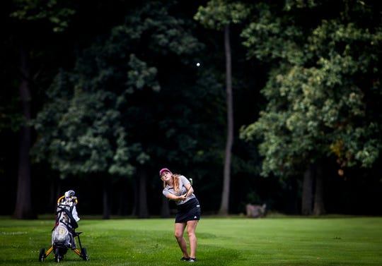 Daleville's Emma Allen competes in the girls golf invitational at Maplewood Golf Course in Muncie Saturday, Aug. 17, 2019.