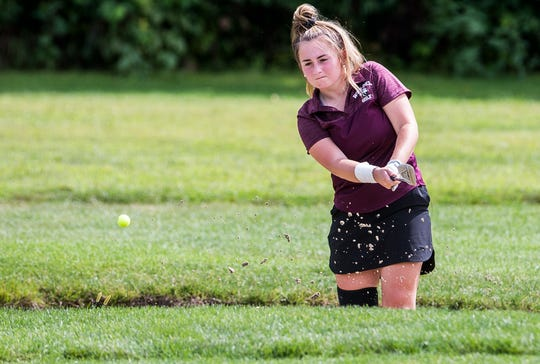 FILE -- Wes-Del's Lauren Kimble helped lead the Warriors girls golf team to a Mid-Eastern Conference title at Maplewood Golf Course Saturday. Kimble finished with an 88 as Wes-Del shot a 395 as a team.