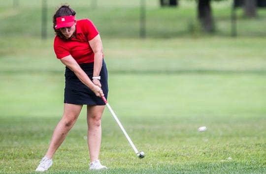 Wapahani's Tori Hood competes in the girls golf invitational at Maplewood Golf Course in Muncie Saturday, Aug. 17, 2019.
