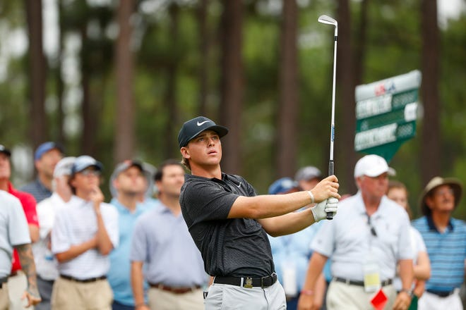 John Augenstein hits his second  shot on the second hole during the final round at the 2019 U.S. Amateur in Pinehurst, North Carolina, on Sunday.