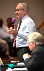 Mayor David Briley speaks at the NOAH mayoral forum at Fifteenth Ave Baptist Church   Sunday, Aug. 18, 2019, in Nashville, Tenn.