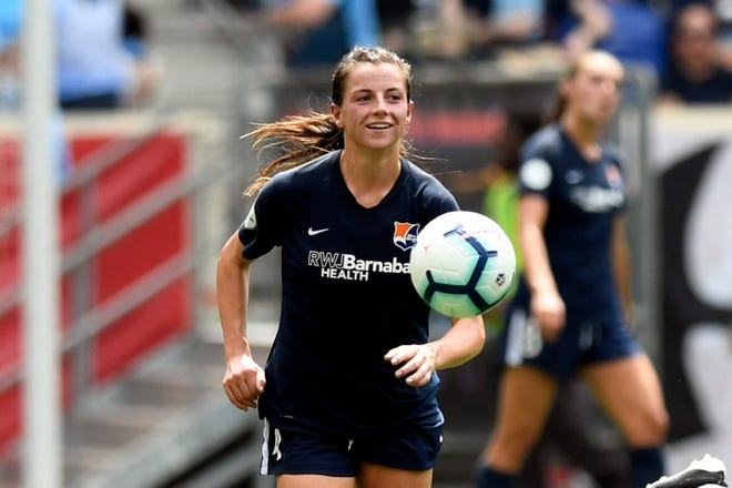 Sky Blue forward and New Jersey native Paige Monaghan on the field during a game against Reign FC. Sky Blue FC and Reign FC are tied, 1-1, at the half on Sunday, August 18, 2019, in Harrison.