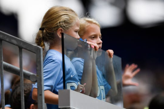 Young fans wearing Player Development Academy shirts watch the game. Sky Blue FC and Reign FC end in a tie, 1-1, at the Red Bull Arena on Sunday, August 18, 2019, in Harrison.