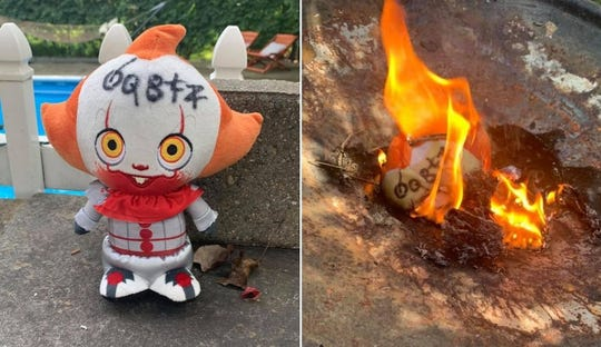Police wouldn't touch the Pennywise doll that landed Renee Jensen's yard, so she burned it.