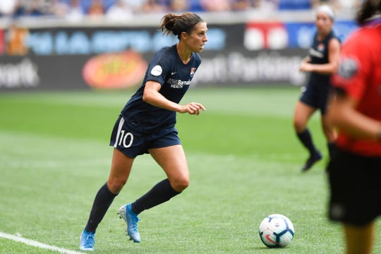 Sky Blue midfielder and New Jersey native Carli Lloyd plays against the Reign FC. Sky Blue FC and Reign FC are tied, 1-1, at the half on Sunday, August 18, 2019, in Harrison.
