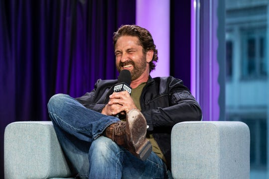 """Gerard Butler discusses """"Angel Has Fallen"""" on Aug. 13, 2019, in London."""