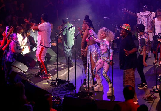 George Clinton and Parliament-Funkadelic perform during their One Nation Under A Groove Tour at the Celebrity Theatre in Phoenix on Saturday, Aug. 17, 2019.