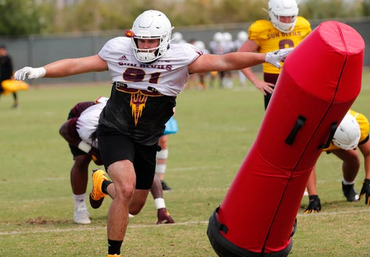 ASU defensive end Michael Matus (91) performs a drill during practice in Tempe August 18, 2019.