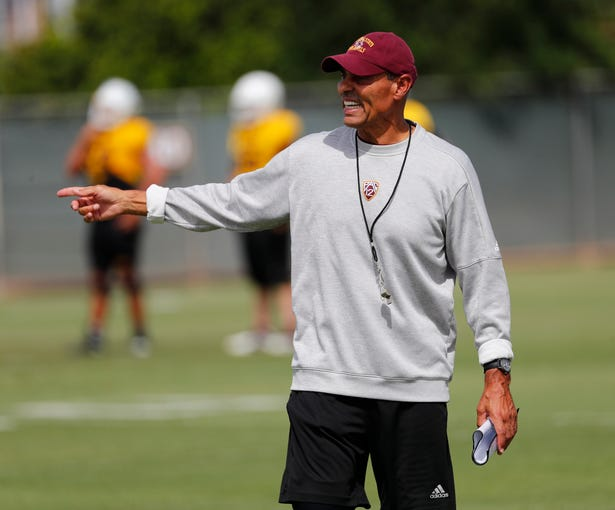 ASU head coach Herm Edwards directs his players during practice in Tempe August 18, 2019.
