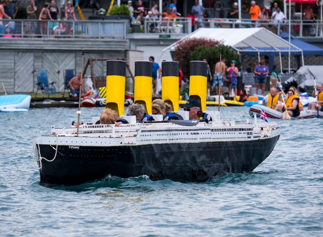 Participants in the Port Huron Float Down make their way down the St. Clair River during the annual, non-sanctioned event on Sunday, Aug. 18, 2019.