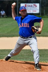 Joe Yourgal delivers for Conrads as they face Jacobus in game 1 of the best-of-5 Susquehanna League playoff series, Sunday, August 18, 2019.