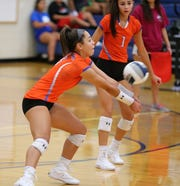San Angelo Central's Mya Moore makes a dig during the Lady Cats' loss against defending champion Frenship in the Gold Bracket finals of the Nita Vannoy Memorial Volleyball Tournament at Lake View's Ben Norton Gym Saturday, Aug. 17, 2019.