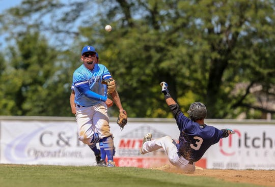 Sioux Falls Brewers infielder James Borges makes a throw Sunday at the state championship in Mitchell.