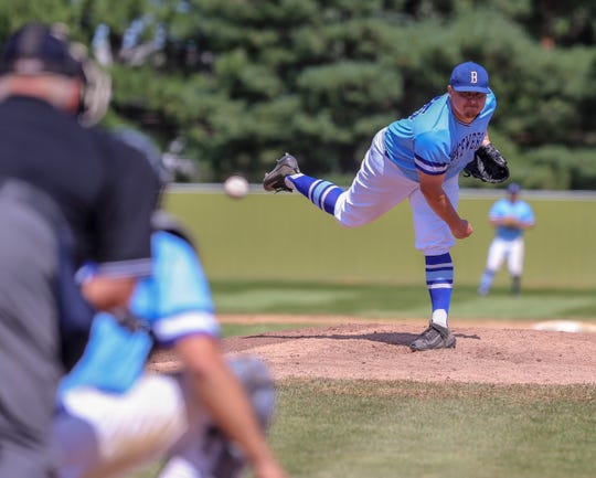 Bryce Ahrendt delivers a pitch during Sunday's state amateur baseball championship. The Sioux Falls Brewers pitcher was named tournament MVP