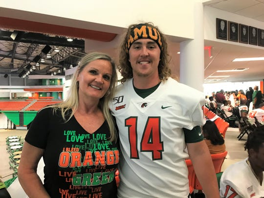 FAMU quarterback Ryan Stanley celebrated Fan Day with his mother Ann Stanley inside the Al Lawson Multipurpose Center on Saturday, Aug. 17, 2019.
