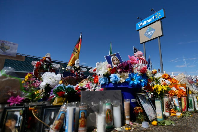 A procession of 22 hearses filled the Walmart shooting memorial site with floral arrangements to honor all the victims of the Aug. 3, 2019, attack Sunday, Aug. 18, 2019, in El Paso. The flowers were sent from across the world for the funeral services for Margie Reckard.